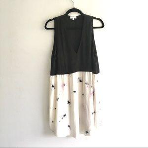 ARITZIA Silk Sleeveless Deep V-Neck Dress Floral